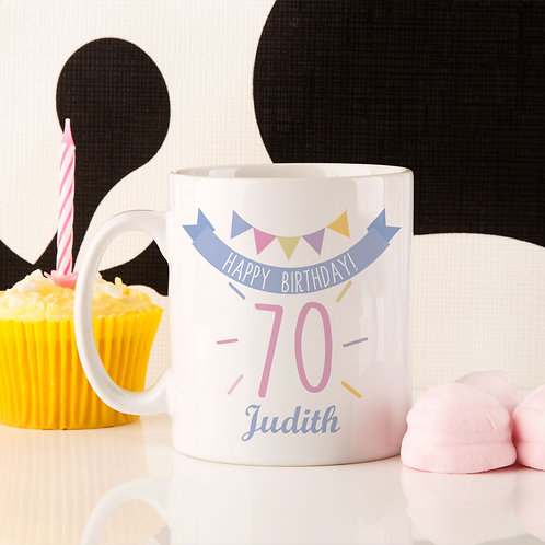 70th Birthday Bunting Mug For Her