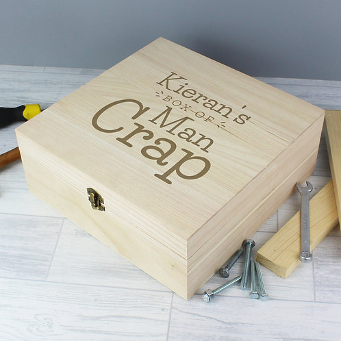 Personalised Box of Man Crap Large Wooden Keepsake Box (PMC)