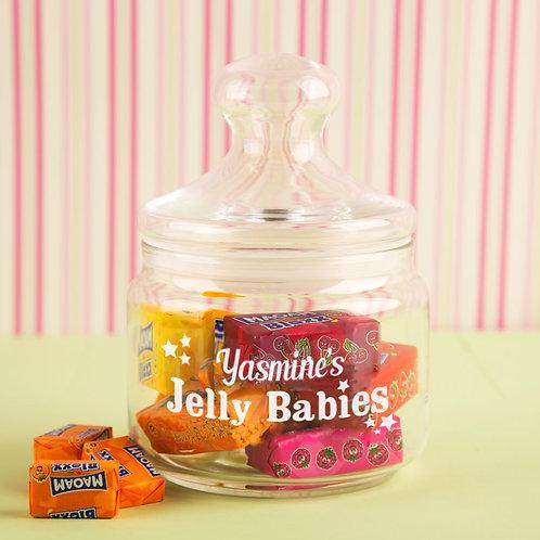 Jelly Babies Glass Sweet Jar