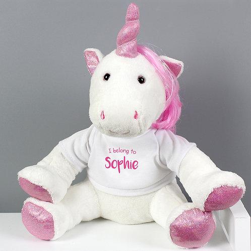 Personalised 'I Belong To' Plush Unicorn (PMC)