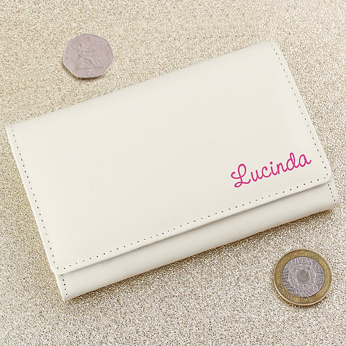 Personalised Pink Name Cream Leather Purse (PMC)