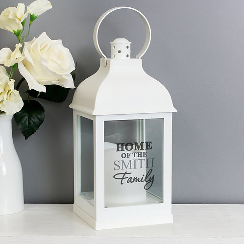 Personalised The Family White Lantern (PMC)