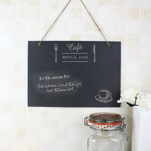Personalised Cafe Large Hanging Slate Sign (PMC)