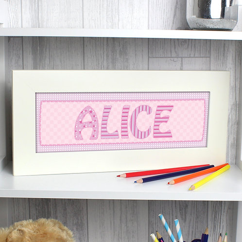 Personalised Pink Stitch Name Frame (PMC)
