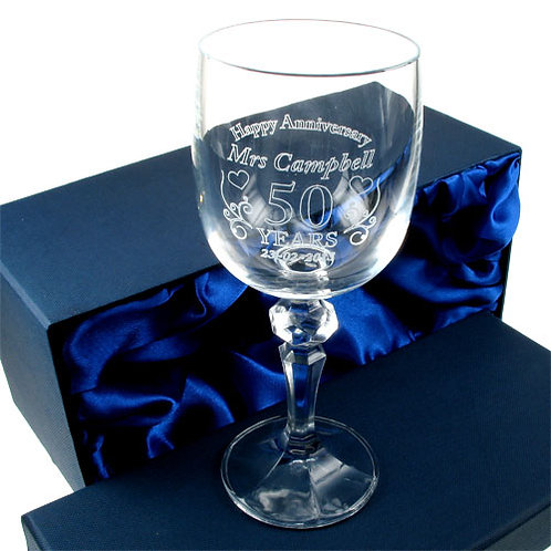 Wedding Anniversary Wine Glass for Her