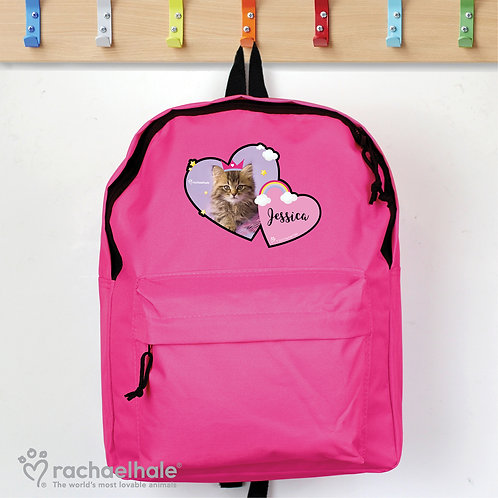 Personalised Rachael Hale Cute Cat Pink Backpack (PMC)