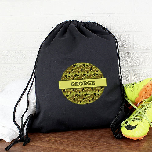 Personalised Khaki Camo Black Swim & Kit Bag (PMC)