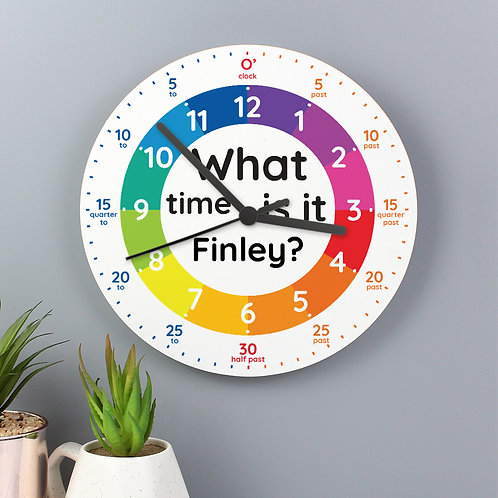 Personalised What Time Is It? Wooden Clock (PMC)