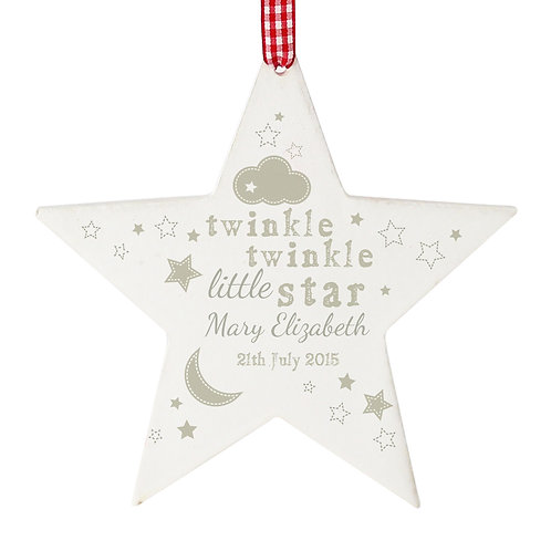 Personalised Twinkle Twinkle Wooden Star Decoration (PMC)