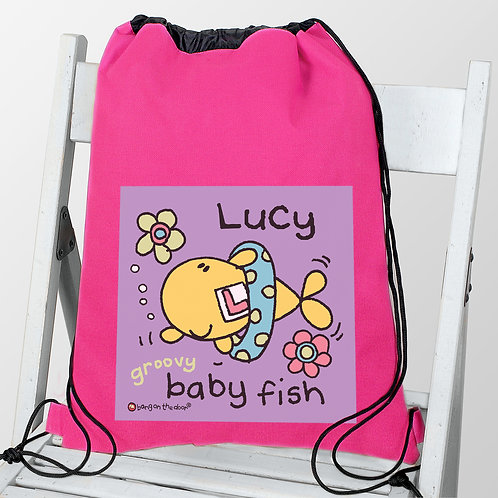 Personalised Bang On The Door Baby Fish Girls Swim & Kit bag (PMC)