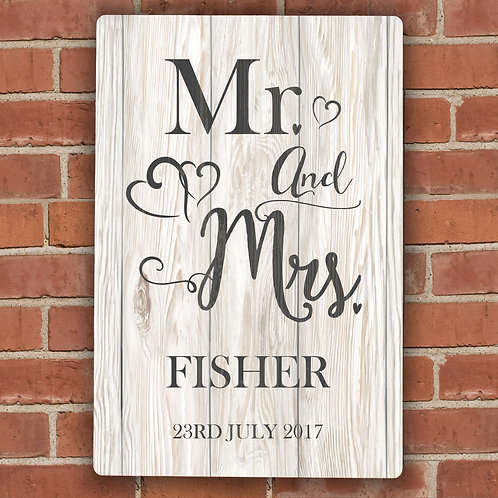 Personalised Mr & Mrs Metal Sign (PMC)