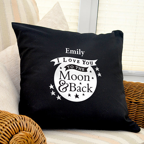 Personalised To the Moon and Back...Black Cushion Cover (PMC)
