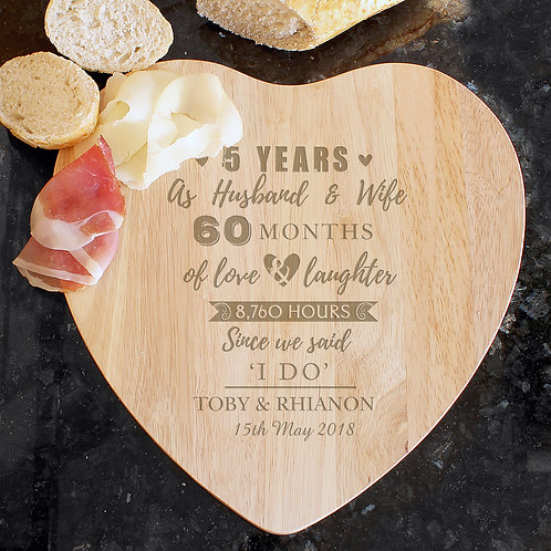 Personalised 5th Anniversary Heart Chopping Board (PMC)