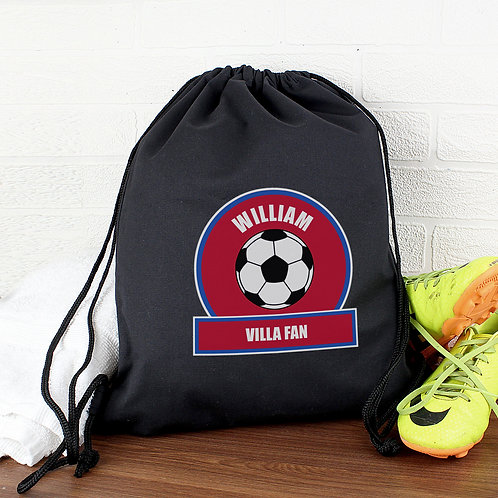 Personalised Claret and Blue Football Fan Swim & Kit Bag (PMC)