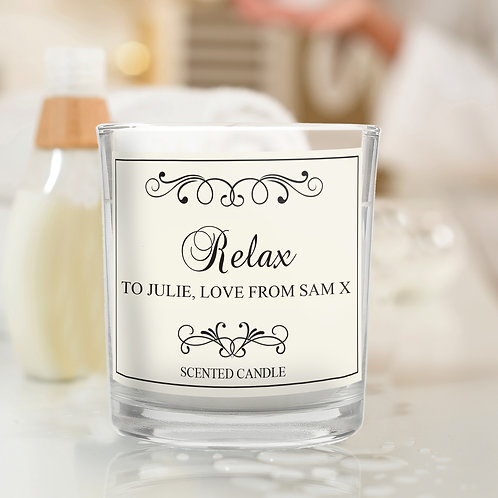 Personalised Black Swirl Scented Jar Candle (PMC)