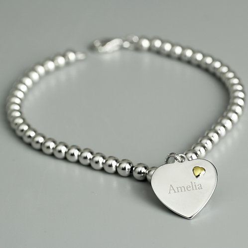 Personalised Sterling Silver and 9ct Gold Heart Bracelet (PMC)