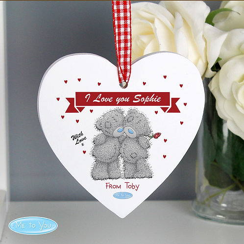 Personalised Me to You Couple Wooden Heart Decoration (PMC)