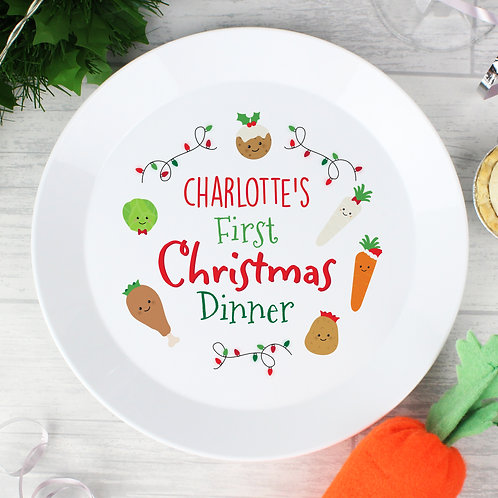 Personalised 'First Christmas Dinner' Plastic Plate (PMC)