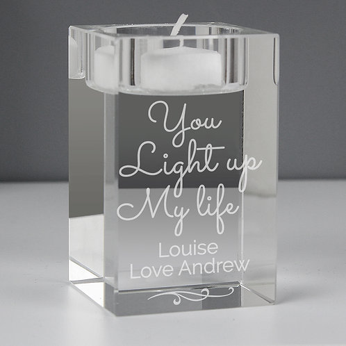 Personalised You Light Up My Life Glass Tea Light Holder (PMC)