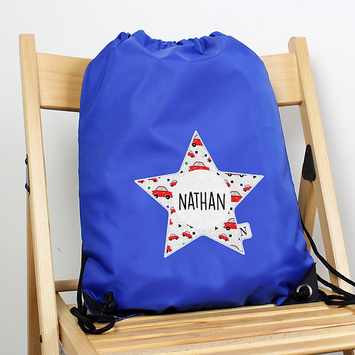 Personalised Star With Car Pattern Blue Kit Bag (PMC)