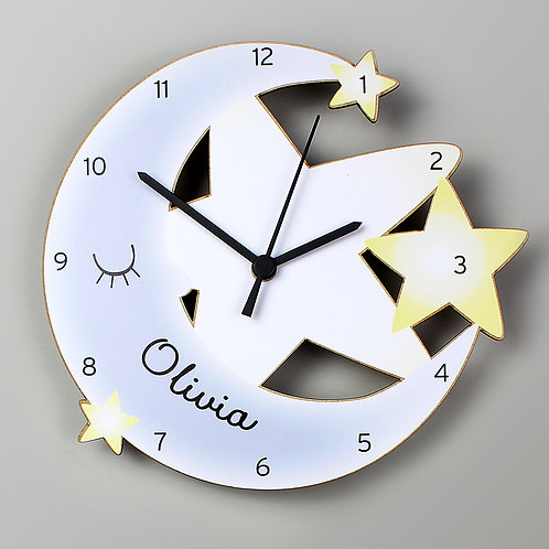 Personalised Moon and Stars Shape Wooden Clock (PMC)