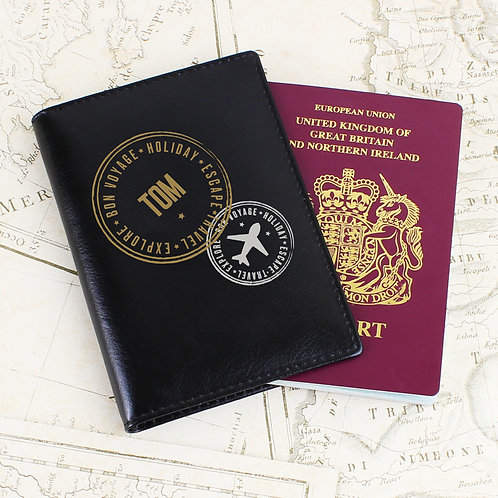 Personalised Stamped Black Passport Holder (PMC)