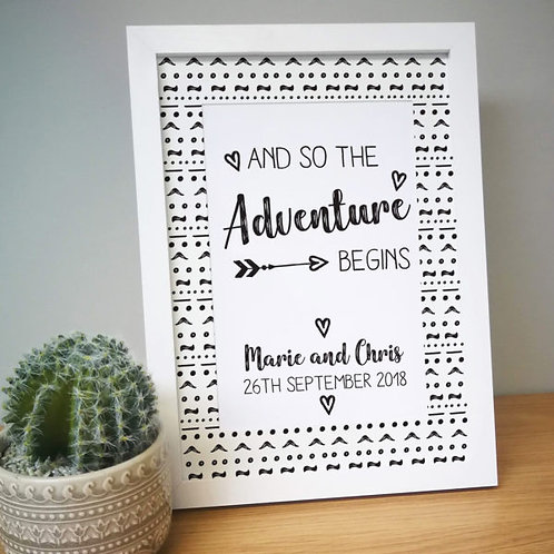 Adventure Begins A4 Framed Print