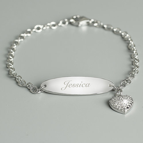 Personalised Children's Sterling Silver and Cubic Zirconia Bracelet (PMC)