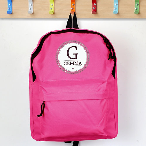 Personalised Star Name Pink Backpack (PMC)