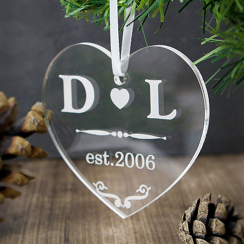 Personalised Acrylic Heart Decoration (PMC)
