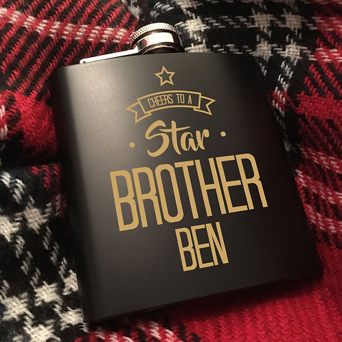 Cheers to a Star Brother Hip Flask