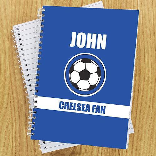 Personalised Dark Blue Football Fan A5 Notebook (PMC)