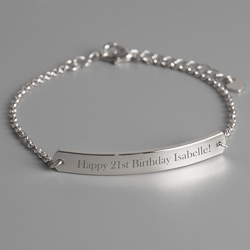 Personalised Silver Tone Bar Bracelet (PMC)