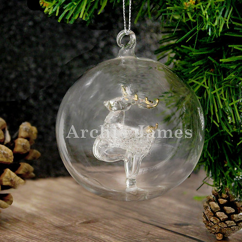 Personalised Name Only Reindeer Glass Bauble (PMC)