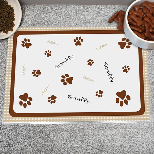 Personalised Brown Gingham Cat Placemat (PMC)