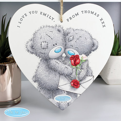 Personalised Me to You Valentine 22cm Large Wooden Heart Decoration (PMC)