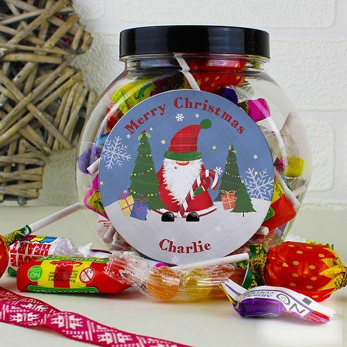 Personalised Tartan Santa Sweet Jar (PMC)