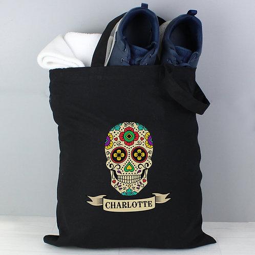 Personalised Sugar Skull Black Cotton Bag (PMC)