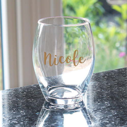 Personalised Gold Name Stemless Wine Glass (PMC)