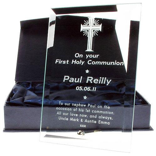 Glass Communion Frame: Cross Design