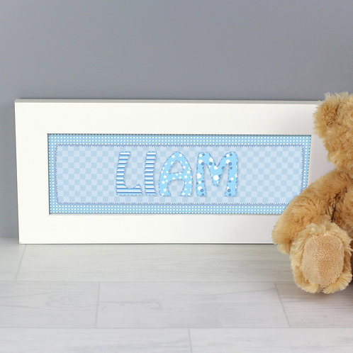 Personalised Blue Stitch Name Frame (PMC)