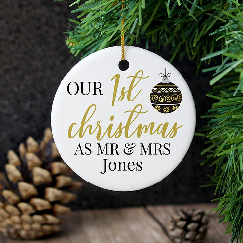 Personalised Mr and Mrs 1st Christmas Round Ceramic Decoration (PMC)