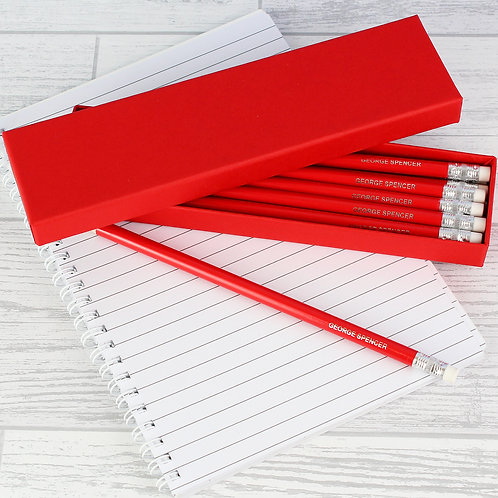 Personalised Box of 12 Red HB Pencils (PMC)