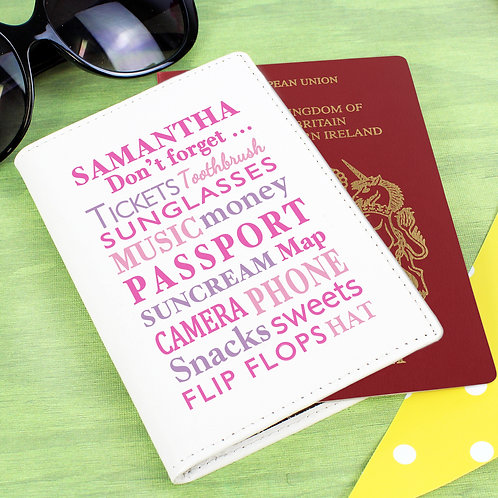 Personalised Dont Forget Cream Passport Holder (PMC)