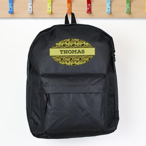 Personalised Khaki Camo Black Backpack (PMC)