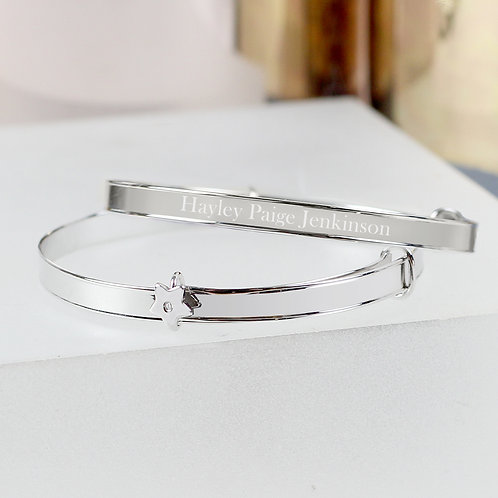 Personalised Sterling Silver Childs Expanding Diamante Star Bracelet (PMC)