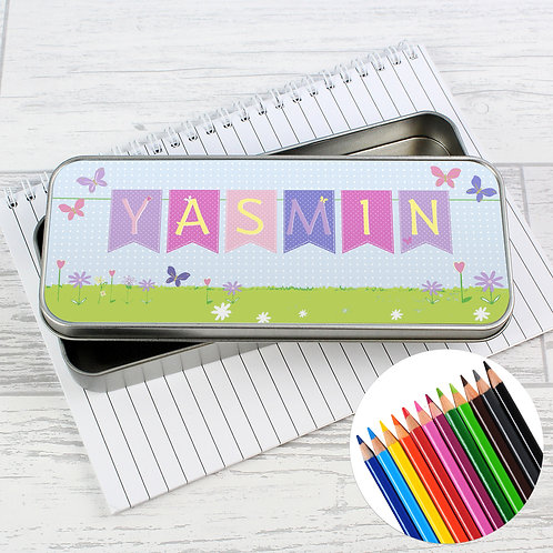 Personalised Garden Bunting Pencil Tin with Pencil Crayons (PMC)