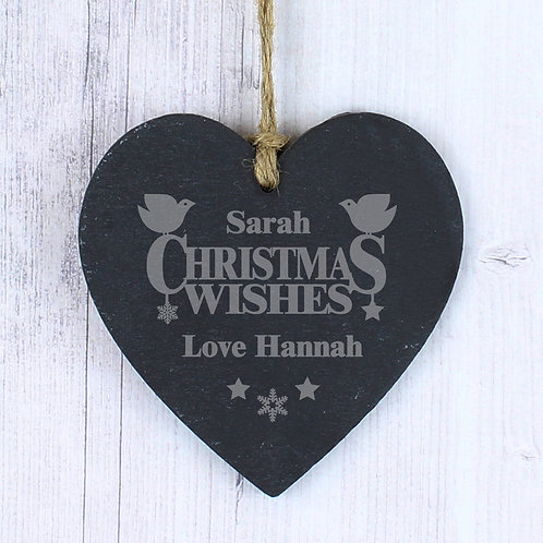 Personalised Christmas Wishes Slate Heart Decoration (PMC)