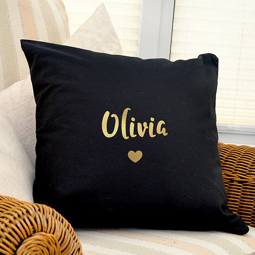 Personalised Gold Name Black Cushion Cover (PMC)