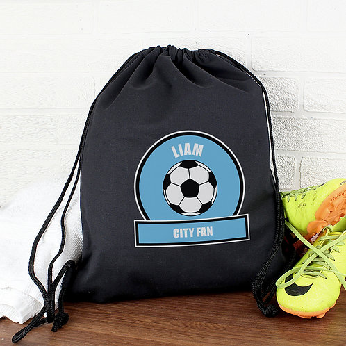 Personalised Sky Blue Football Fan Swim & Kit Bag (PMC)